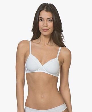 HANRO Cotton Lace Spacer Soft Cup Bra - White