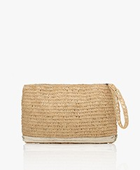 Vanessa Bruno Raffia Clutch with Sequins - Natural/Gold