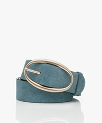 Vanessa Bruno Suede Leather Belt - Greyish Blue