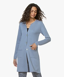 Belluna Someone Half Long Viscose Blend Cardigan - Light Blue