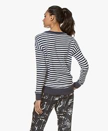 Denham Captain Fleece Striped V-neck Sweater - Navy/White