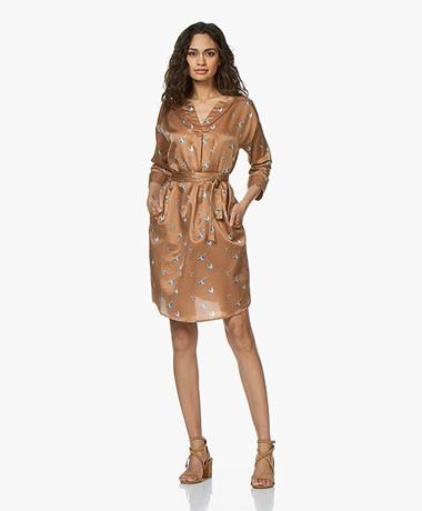 no man's land Silk Blend Bird Print Dress - Dark Gold