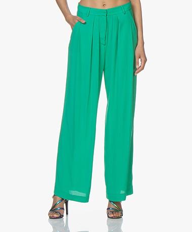 Pomandère Wide Leg Pants in Viscose Crepe - Fluor Green