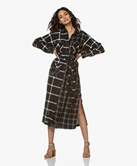 Current/Elliott The Ana Maxi Print Blousejurk - Double Windowpane