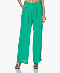 Pomandère Wide Leg Pants in Viscose Crepe - Fluor Green