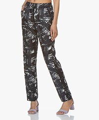 no man's land Silk Blend Printed Pants - Dark Sapphire
