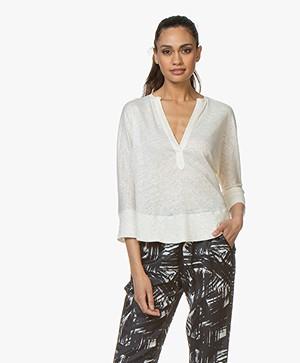 ba&sh Lexy Linnen T-shirt met Driekwart Mouwen - Off-white