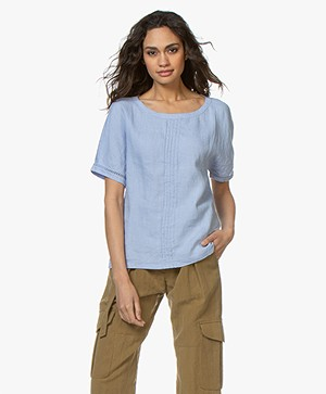 Belluna Joss Linen Blouse Top with Short Sleeves - Light Blue