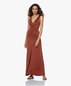 By Malene Birger Ruched Dress - Red Clay