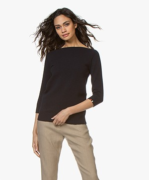 extreme cashmere N°76 Sweet Cropped Sleeve Sweater - Navy
