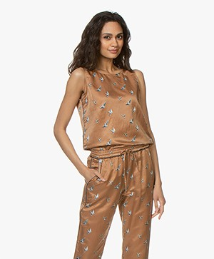 no man's land Zijdemix Vogelprint Top - Dark Gold