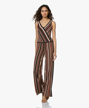 SIYU Rayas Striped Tech Jersey Jumpsuit - Brown