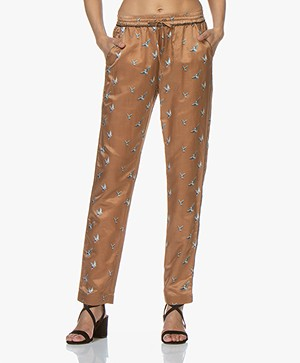 no man's land Zijdemix Vogelprint Broek - Dark Gold