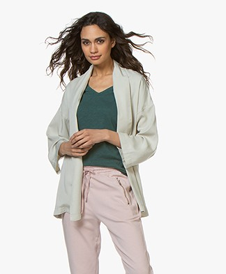 indi & cold Lyocell Belted Wrap Blazer - Piedra