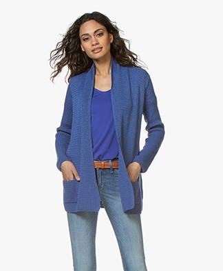Belluna Kara Open Cardigan with Shawl Collar - Blue