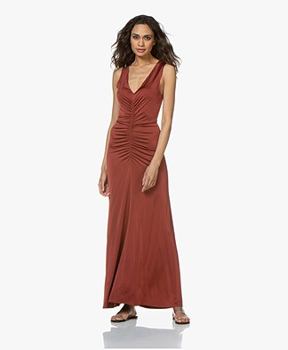 By Malene Birger Ruched Jurk - Red Clay