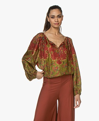 Mes Demoiselles Dolores Silk Printed Blouse - Combo Green
