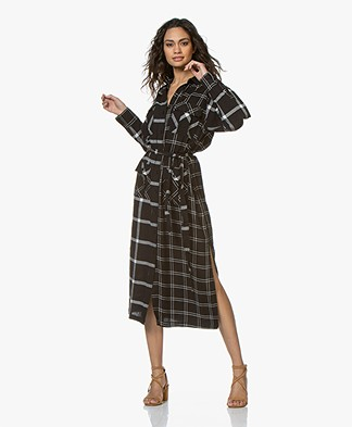 Current/Elliott The Ana Maxi Printed Shirt Dress - Double Windowpane