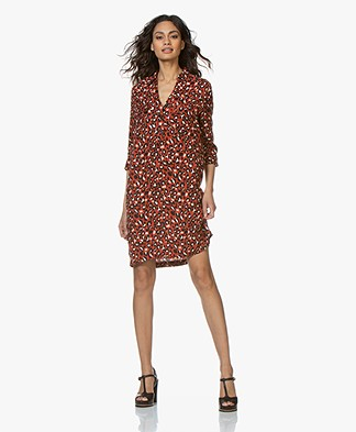 MKT Studio Raphael Leopard Printed Shirt Dress - Red