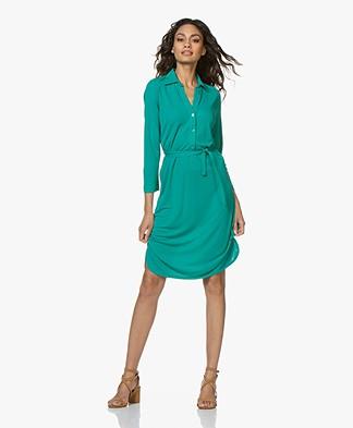 no man's land Crepe Jersey Shirt Dress - Persian Green