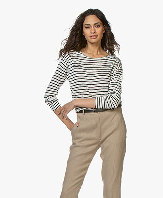 Pomandère Striped Linen Longsleeve - Black/Off-white