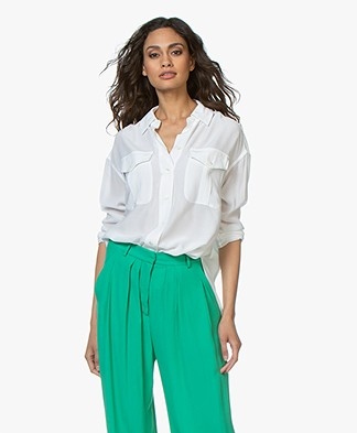 Denham Trek Crepe Blouse - Optic White