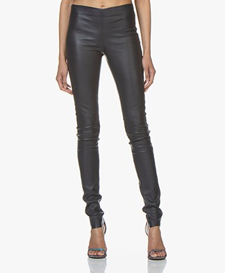 Joseph Leather Stretch Leggings - Navy