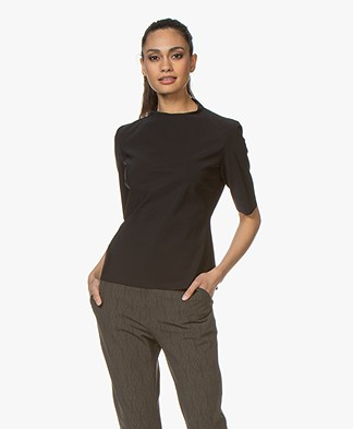 Woman by Earn Gera Bonded Tech Jersey T-shirt - Black