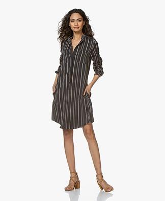 Woman by Earn Ted Fancy Striped Shirt Dress - Navy/Beige