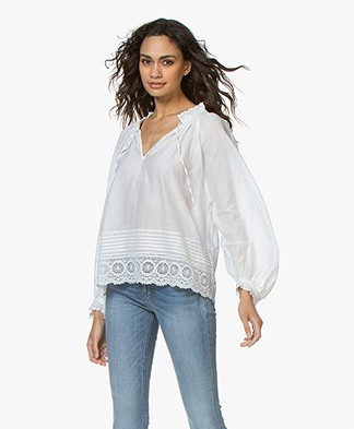 Zadig & Voltaire Theresa Cotton Blouse with Lace - White