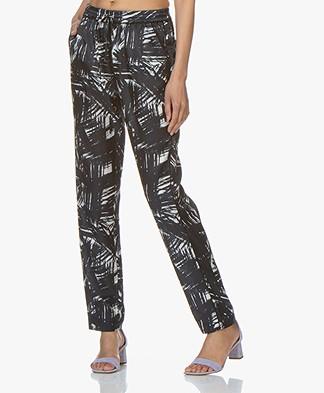 no man's land Silk Blend Printed Pants - Dark Sapphire