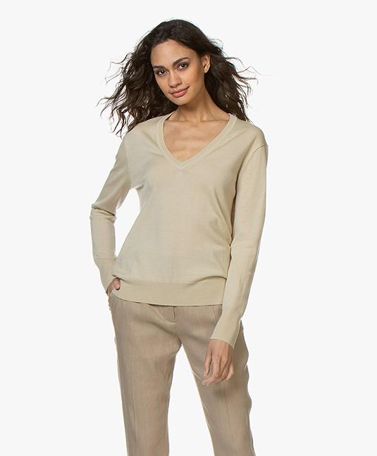 0058d4d48ff Filippa K Merino V-neck Sweater - Sahara - 25304 8237 - sahara
