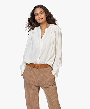 Repeat Viscose Crepe Blouse - Cream