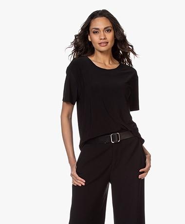 Norma Kamali Tech Jersey T-shirt - Zwart