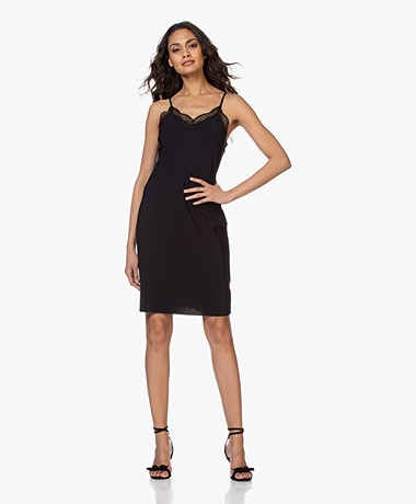 JapanTKY Bekka Travel Jersey Slip Dress with Lace - Black