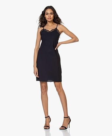 JapanTKY Bekka Travel Jersey Slip Dress with Lace - Black Blue