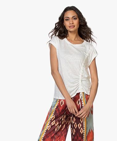 Repeat Linen Draw String T-shirt - Cream