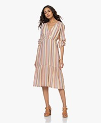 indi & cold Striped Dress with Tier Design - Terracota