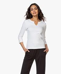Belluna Sunshine Katoenen T-shirt met Driekwartmouwen - Wit