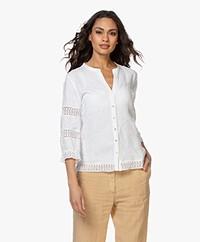 Belluna Sandy Linen Blouse with Lace - White