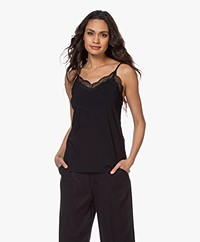 JapanTKY Lacy Travel Jersey Slip Top with Lace - Black