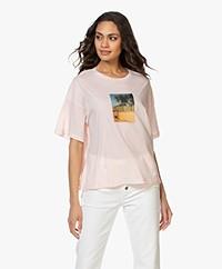 Closed Vacation Print T-shirt - Soft Pink