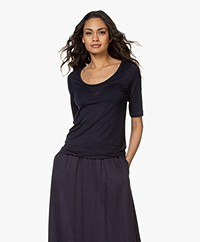 Filippa K Tencel Scoop Neck Tee - Navy
