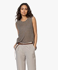 Pomandère Striped Linen Blend Tank Top - Beige/Black