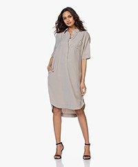 JapanTKY Yuriko Tencel Short Sleeve Shirt Dress - Sand