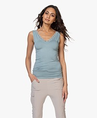 by-bar Double V-neck Top with Lace - Cloud