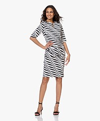 JapanTKY Tate Travel Jersey Zebra Printed Pencil Dress - Black/White