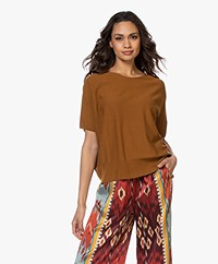 Drykorn Someli Short Sleeve Cotton Sweater - Brown