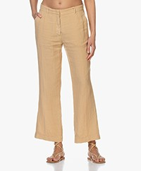 no man's land Pure Linen Pants - Desert