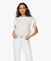 IRO Dunes Cotton T-shirt with Lace - White